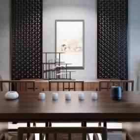 新中式茶室3D模型【ID:630753176】