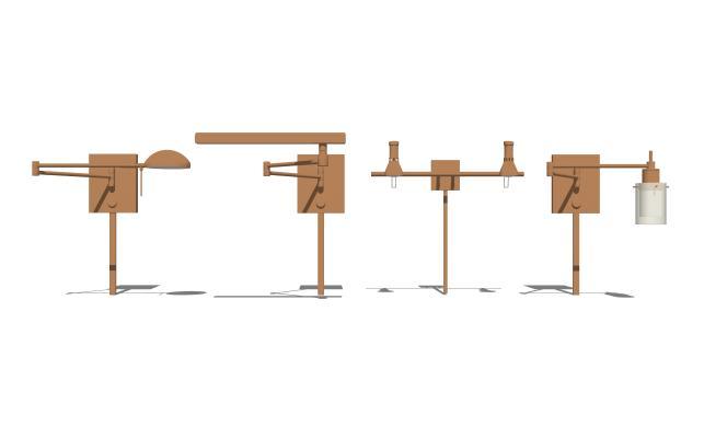 現代金屬壁燈組合SU模型【ID:347986977】