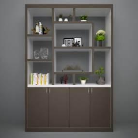 现代书柜3D模型【ID:130683135】