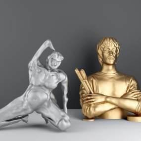 现代人物抽象雕塑3D模型【ID:235616548】