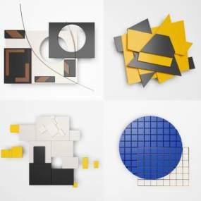 現代幾何墻飾掛飾裝飾畫3D模型【ID:234299754】