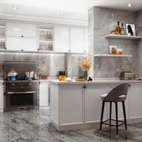 現代風格廚房櫥柜3D模型【ID:548625399】