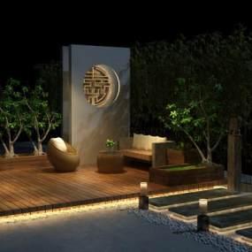 现代夜景院子3D模型【ID:634218736】