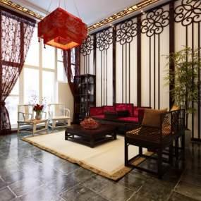 传统中式客厅3D模型【ID:534712059】