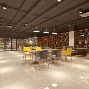 工业风咖啡厅3D模型【ID:644042390】