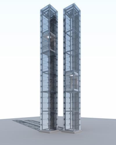 現代玻璃垂直觀光電梯3D模型【ID:442936364】