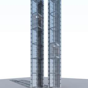 现代玻璃垂直观光电梯3D模型【ID:442936364】