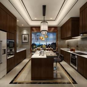 中式开放式豪华厨房3D模型【ID:536230307】