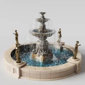 欧式广场喷泉水景3D模型【ID:132105404】