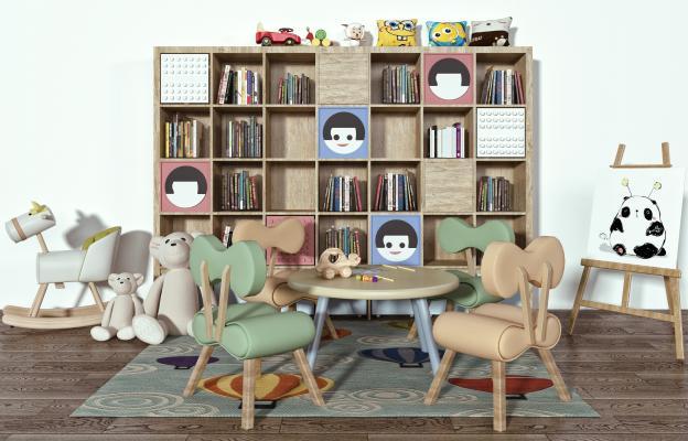 现代儿童桌椅3D模型【ID:353991437】