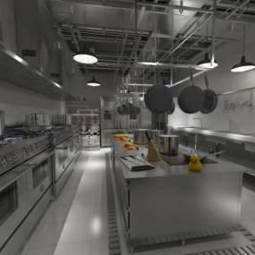 现代酒店厨房3D模型【ID:643192677】