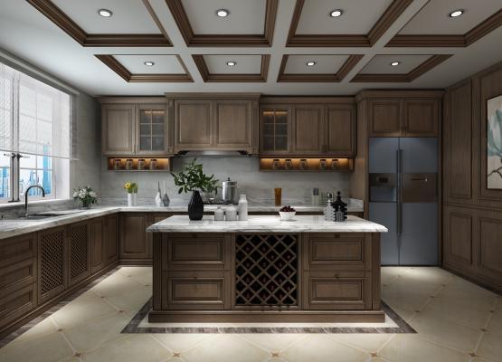 美式厨房3D模型【ID:542240383】