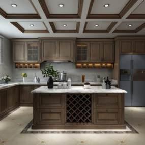 美式廚房3D模型【ID:542240383】