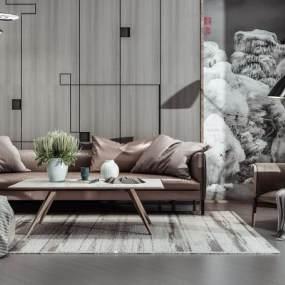现代沙发组合3D模型【ID:632249768】