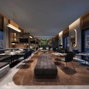 现代轻奢风格餐厅3D模型【ID:645368237】
