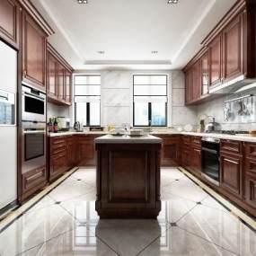 美式别墅厨房3D模型【ID:536262366】
