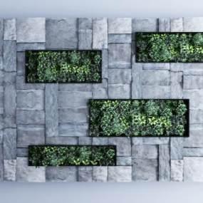 现代毛石绿植背景墙3D模型【ID:353351438】