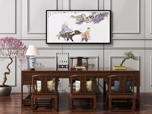 新中式书桌椅3D模型【ID:945374130】