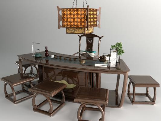 新中式办公桌大班台3D模型【ID:947778127】