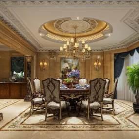 歐式新古典餐廳3D模型【ID:534391142】