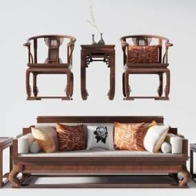 新中式沙發組合3D模型【ID:653144705】