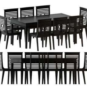 现代简约实木餐桌椅3D模型【ID:842509838】