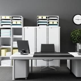 现代办公桌椅文件柜档案柜资料柜组合3D模型【ID:935829105】