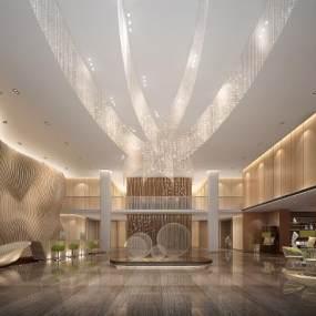 现代酒店大堂3D模型【ID:752599008】