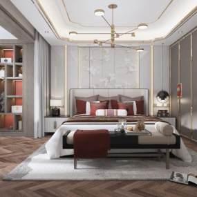 新中式卧室吊灯衣柜手绘壁纸地毯 3D模型【ID:542381202】