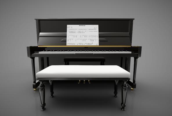 現代風格鋼琴3D模型【ID:345879930】