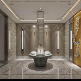 现代别墅卫生间3D模型【ID:536029508】