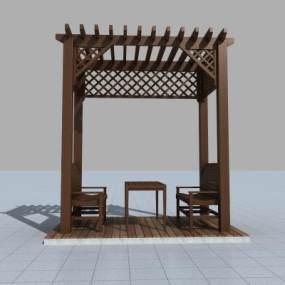 现代廊架3D模型【ID:135970496】