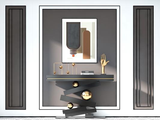 現代輕奢裝飾柜邊柜3D模型【ID:150879064】