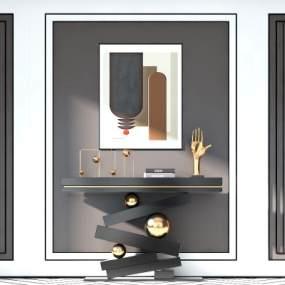 现代轻奢装饰柜边柜3D模型【ID:150879064】
