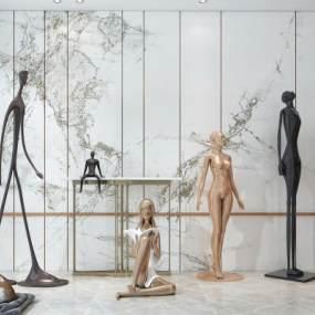 現代人物雕塑3D模型【ID:346772191】