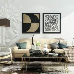 后现代沙发组合3D模型【ID:633511742】