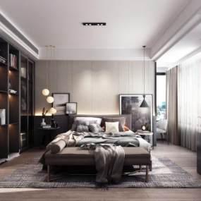 现代卧室3D模型【ID:549335275】