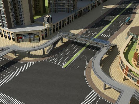 现代天桥道路3D模型【ID:243997002】