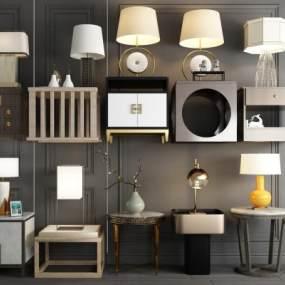 新中式沙发角几边几茶几台灯装饰品新中式床头柜 3D模型【ID:641542869】
