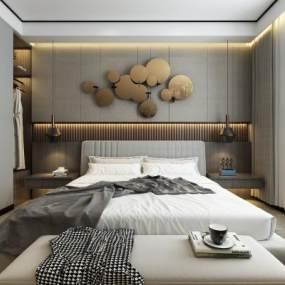 現代臥室3D模型【ID:542816228】