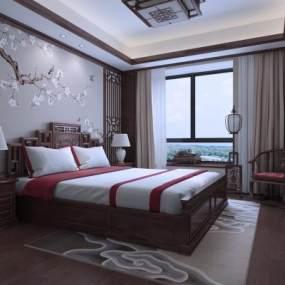新中式卧室3D模型【ID:553849250】