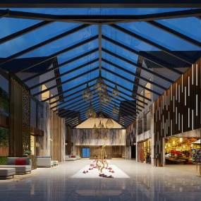 新中式酒店大堂3D模型【ID:752598061】