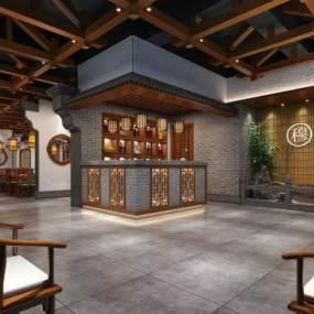 新中式餐厅3D模型【ID:633011274】
