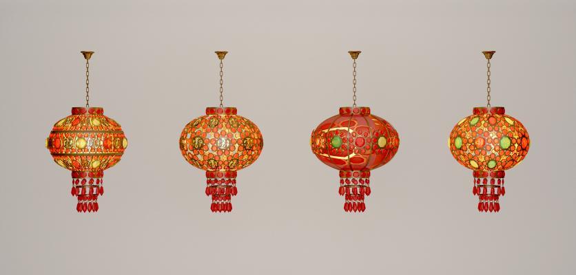 新中式灯笼吊灯3D模型【ID:732110877】