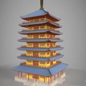 中国传统古建筑塔楼外观模型3D模型【ID:132768973】