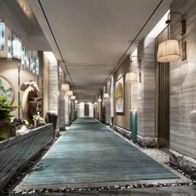 新中式酒店过道3D模型【ID:747447435】