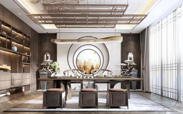 新中式茶室3D模型【ID:649569158】