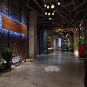 工业风酒店过道3D模型【ID:734542490】