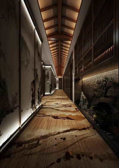 新中式走廊3D模型【ID:741650445】