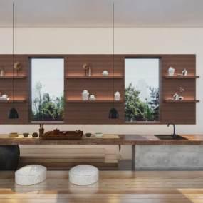 新中式茶桌3D模型【ID:933683500】